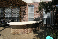 Brick curved limestone bar kitchen