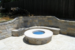 Gas Fire Pit with blue glass