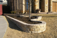 Brick capped rock wall